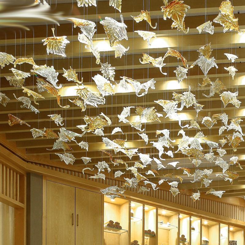 Murano Cam Yaprak Avize Lambaları El Üflemeli Cam Sanat Kolye Işık Büyük Lobi Yeşillik Avize Aydınlatma Otel Ücretsiz Nakliye Için
