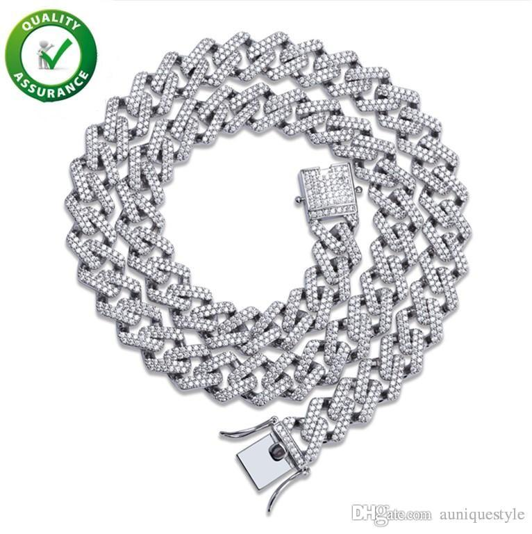 Iced Out Chains Designer Necklace Hip Hop Jewelry Mens Cuban Link Gold Luxury Diamond Bling Rapper Chain Micro Paved CZ Wedding Accessories
