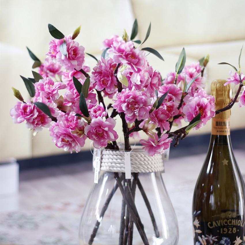 زهور ساكورا 7PCS الاصطناعي أزهار الكرز فرع الحرير فلوريس وهمية فروع شجرة الكرز الرئيسية Tabledesk مناسبات الزفاف مصنع وهمية