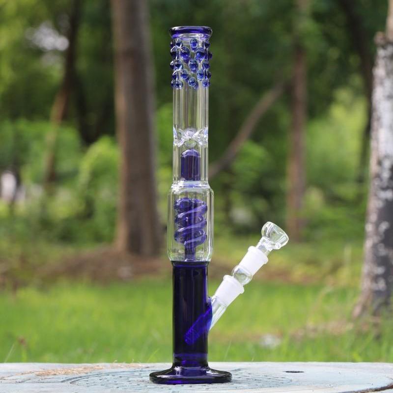 38см Downstwm Чаша Joint 18.8mm фиолетовый Зеленое стекло Бонги Спираль перколяторах Кальяны Dab Rigs Две функции Bongs Водопроводные трубы Кальяны