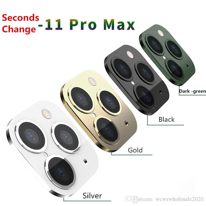 ثانية كاميرا الألومنيوم معدن عدسة تغيير إلى 11 فون برو ماكس زجاج حامي حلقة الغطاء عن اي فون X XS MAX ملصق همية كاميرا
