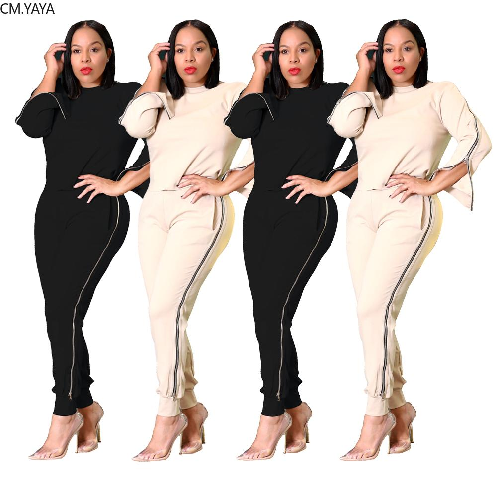 Winter Women Tracksuits O-Neck Solid Full Sleeve T-Shirt Top Long Pants Suits Zipper two piece set Casual Sporty Outfits 126