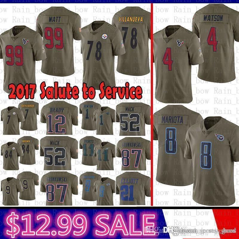 2f3bf6a3421 best Houston 4 Deshaun Watson Texans J.J. Watt Jersey Tennessee 8 Marcus  Mariota Titans Salute to Service 78 Alejandro Villanueva Steelers