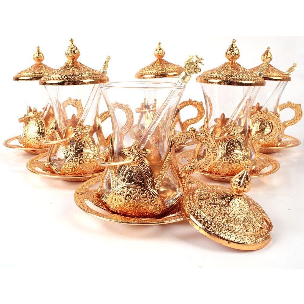 Handmade Copper-Silver-Golden Ottoman Turkish Arabic Tea Cups Turkish Tea Coffee Cups Set (With Teaspoon Gift) made in Turkey