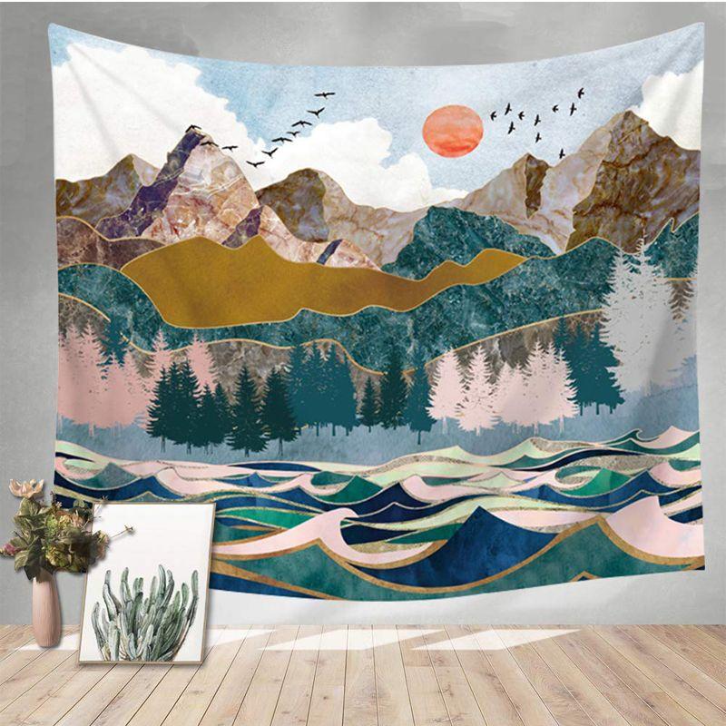 2019 Mandala paesaggio di montagna pittura Tapestry Wall Hanging Nero Bianco Hippie sottile panno Coperta in poliestere copriletto Tovaglia