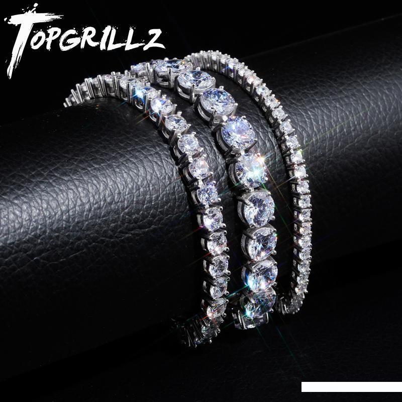 TOPGRILLZ 3MM 5MM Tenis Zinciri Kübik zirkon 925 gümüş Altın rengi 7-8 inç Bilezik Bağlantı Erkek Hip Hop Mücevher Buzlu