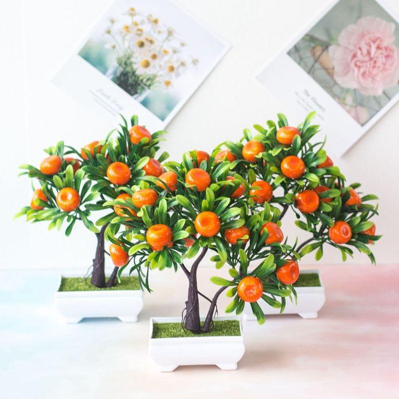 Plantas artificiais Bonsai Mandarina Árvore de Frutas Em Vasos para Casa Decoração Do Quarto de Casamento Flor Hotel Party Decor Falso Em Vasos