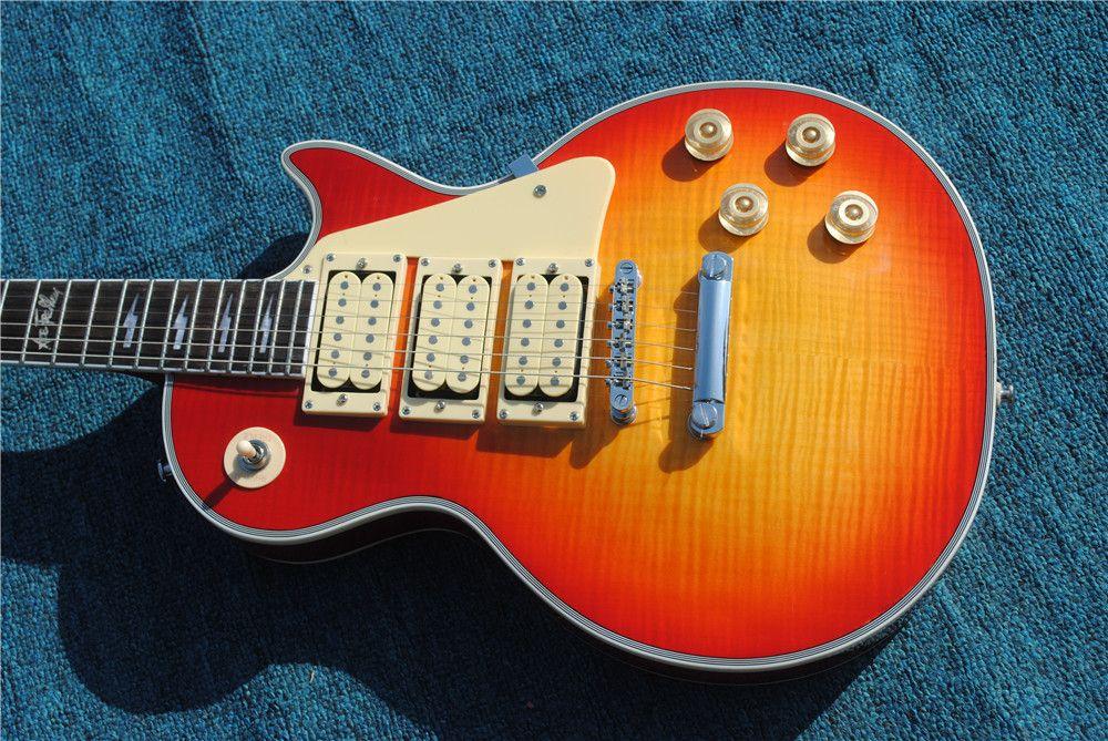 مخصص متجر أعلى جودة ايس فريهلي توقيع 3 التقاطات الغيتار الكهربائي، الغيتار الأحمر الكرز، حرية الملاحة