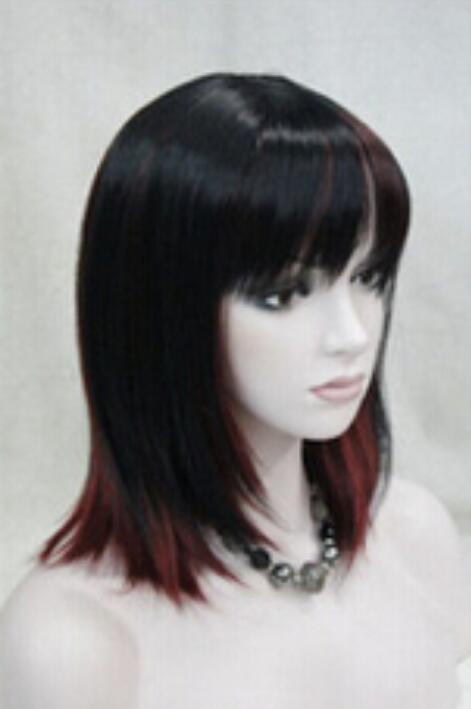 Peluca Envío Gratis Moda Encantador Centro Parting Fringe Kanekalon Negro-rojo Corto peluca de las mujeres
