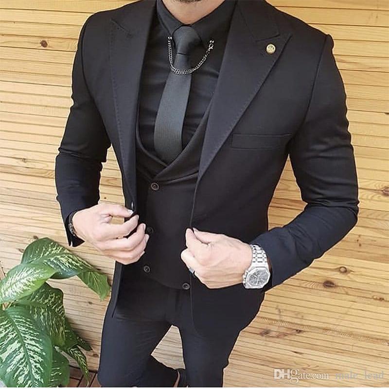 Handsome Groomsmen picco risvolto smoking dello sposo degli uomini Wedding Dress Giacca uomo Blazer Prom Cena 3 tuta (Jacket + Pants + Tie + Vest) B124