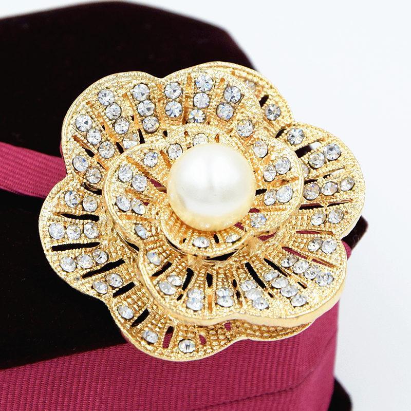 Mode Perle Diamant Douce Fleur Cristal Broches pour Femmes Romantique Fête De Mariage Strass Parti Broche Épingle Meilleur Cadeau 24 PCS