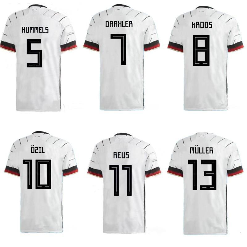 2019 2020 독일 축구 jerseysHUMMELS KROOS 드락 슬러 레 우스 MULLER GOTZE 축구 정상 아이 키트 남자 축구 셔츠 홈 유니폼