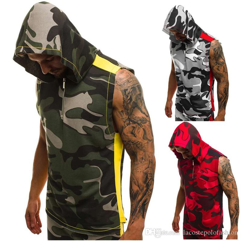 Verão Mens mangas Hoodies 3D impressão de Fitness Sports Vest Mens Zipper Designer Tops Vestuário Casual