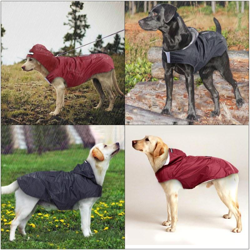 Dog Raincoat Pet Waterproof Detachable Rain Jacket Dogs Water Resistant Clothes Floral Patterns Trench Coat for Rainy Day
