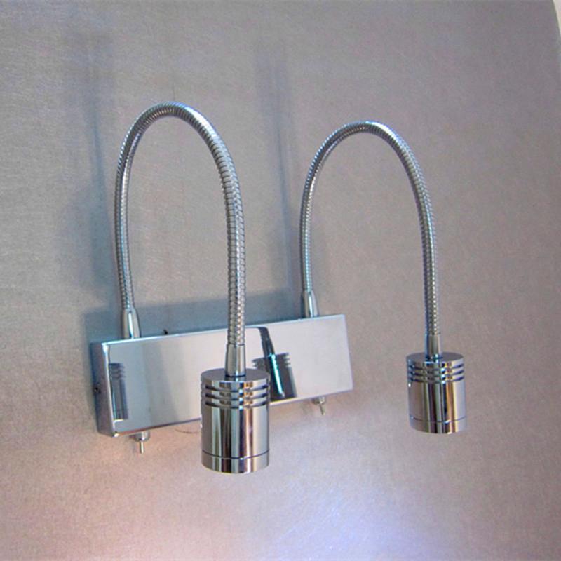 TOPOCH Flexibla Gooseneck vägglampor 2x3Watt LED-lampor som arbetar oberoende av tvillingbrytare Lighting Angles Justerbar smal stråle AC100-240V