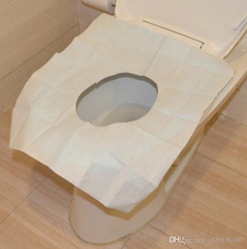 Cubiertas desechables de asiento de inodoro Impermeable a prueba de bacterias Cubierta de papel Nativa Pulpa de madera para baño de viaje