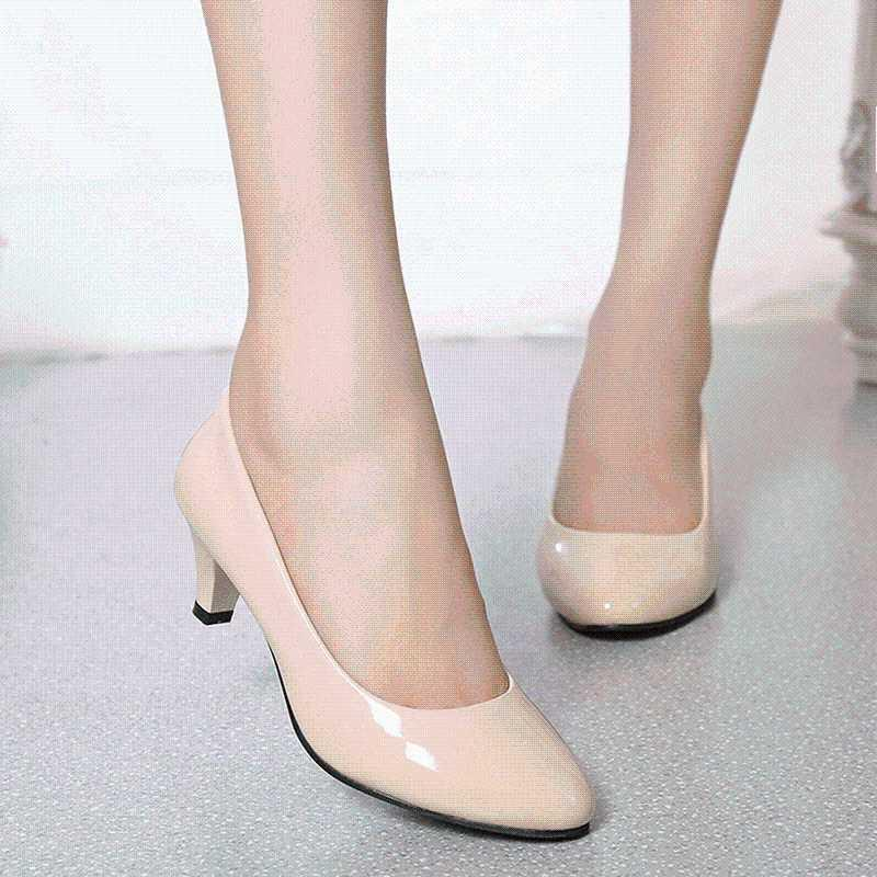 Female Pumps Nude Shallow Mouth Women Shoes Fashion Office Work Wedding Party Shoes Ladies Medium And Low Heel Woman