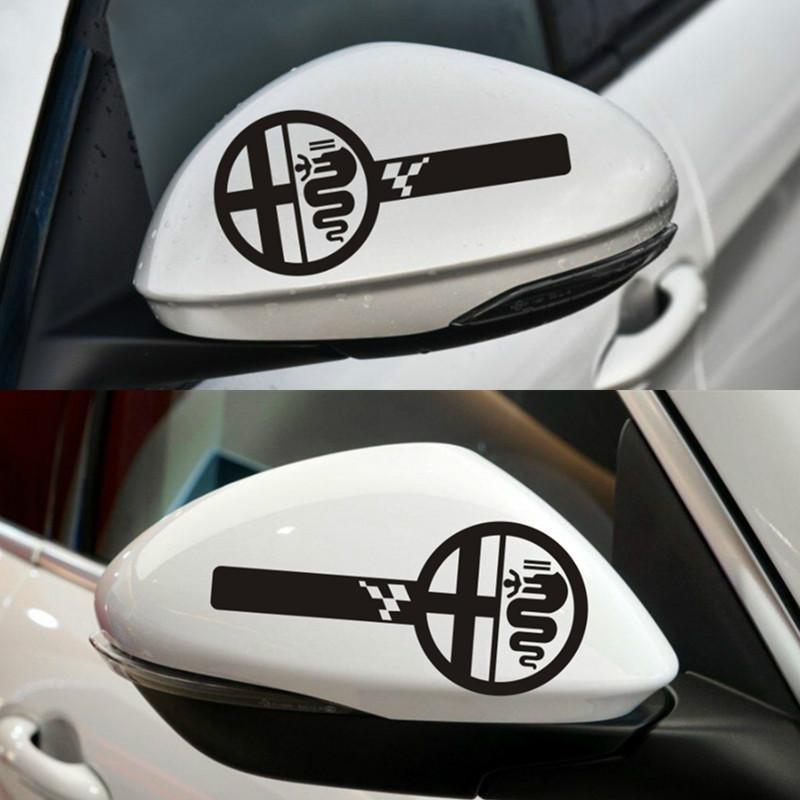 2pcs FOR ALFA ROMEO Custom Wing Mirror Body Decals Stickers MiTo Giulietta Giulia Stelvio 159 147 156 166 GT MiTo Car Styling