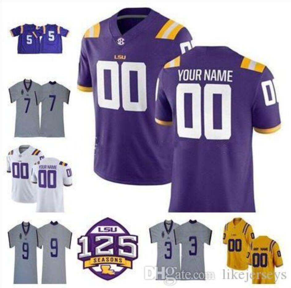 Tigres LSU personalizados 2018 Colegio jerseys Jamal Adams Tae Provens Mannie Netherly Travin Dural Devin White Aaron Moffitt Con Patch 125 como
