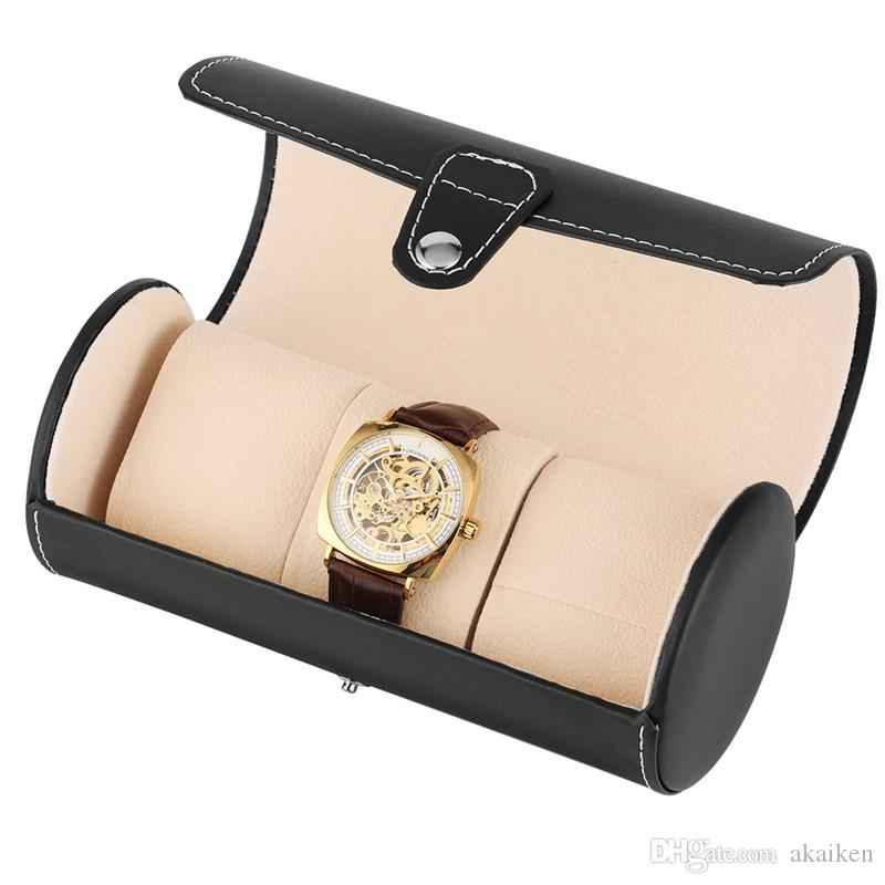 Luxus Schwarz / Braun Reisen Zylindrische Box Leder Kästen Armbanduhr Schmuck-Speicher-Fall-Halter mit Sponge Uhren Zubehör