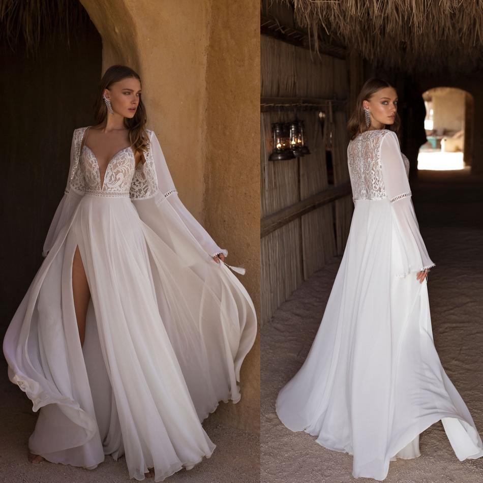 Asaf Dadush 2020 Split Wedding Dresses With Wrap Lace Appliqued Bohemian Chiffon Wedding Dress A Line Beads Bridal Gowns Robe De Mariee