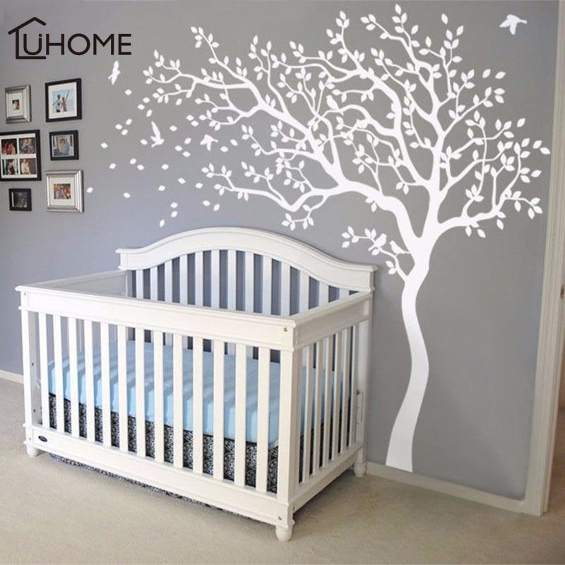 Large White Tree Birds Vintage Wall Decals Removable Nursery Mural Wall Stickers for Kids Living Room Decoration Home Decor Y200103