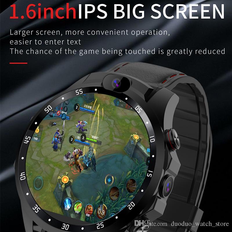 Nouvelle puce 4G montre Netcom 3 + 32Go Android 7.1 double caméra HD 1,6 pouces IPS grand support de moniteur de fréquence cardiaque écran GPS 5MP Smartwatch