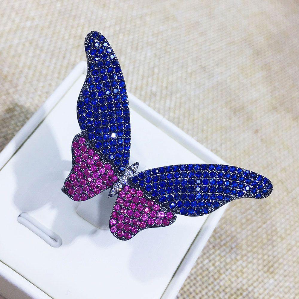 GODKI Nueva llegada Moda de lujo completo Mirco Pave Cubic Zirconia Compromiso mariposa anillo ajustable