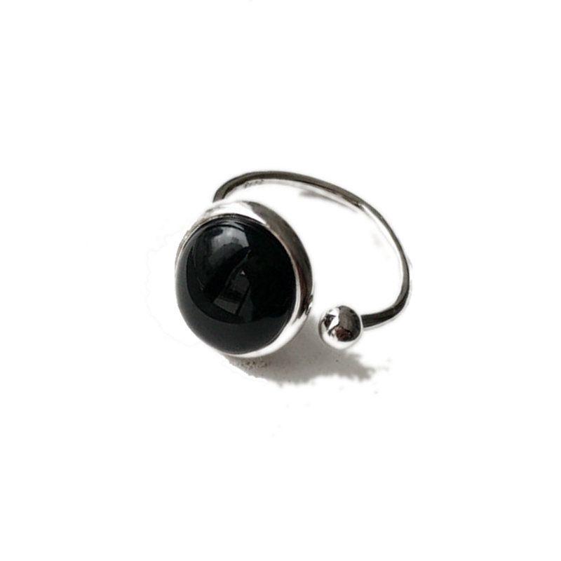 Kişilik Punk Büyük Oval Şekilli Siyah Oniks 925 Ayar Gümüş Nişan Zarif Kadınlar için J-R309 Open-end Yüzük