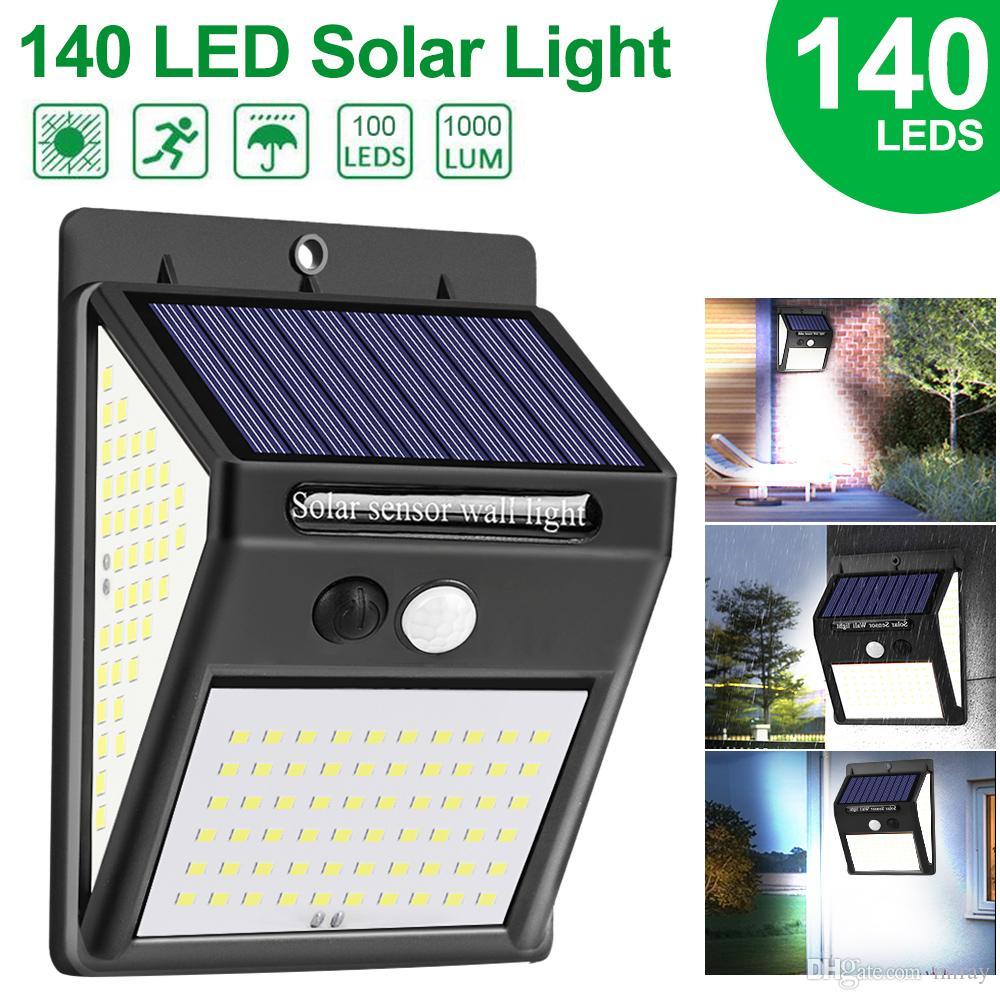 2020 New 100/ 140 LED Solar Light Outdoor Solar Light Pir Motion Sensor Wall Light Water Enforced Sunlight for Garden