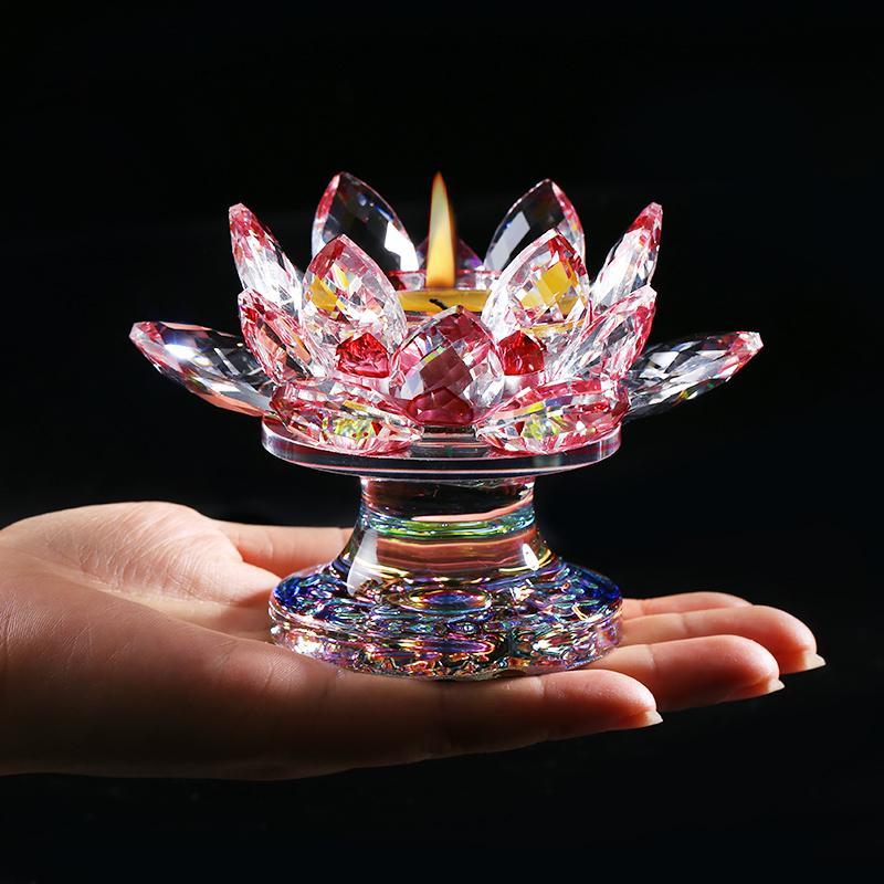110 مم K9 كريستال زهرة اللوتس شمعدانات مصغرة تمثال فنغشوي الحلي البوذية شمعدان حامل ديكور المنزل اكسسوارات