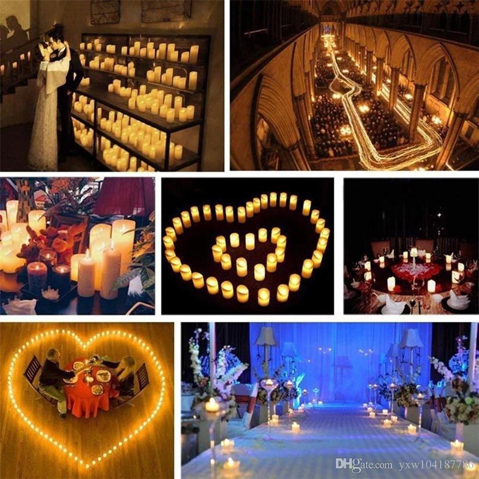 LED Чайные огни беспламенной Votive Чайные свечи Свеча Мерцание лампы свет небольшой электрический Поддельный чай Свеча Реалистичная для свадебного стола Подарок