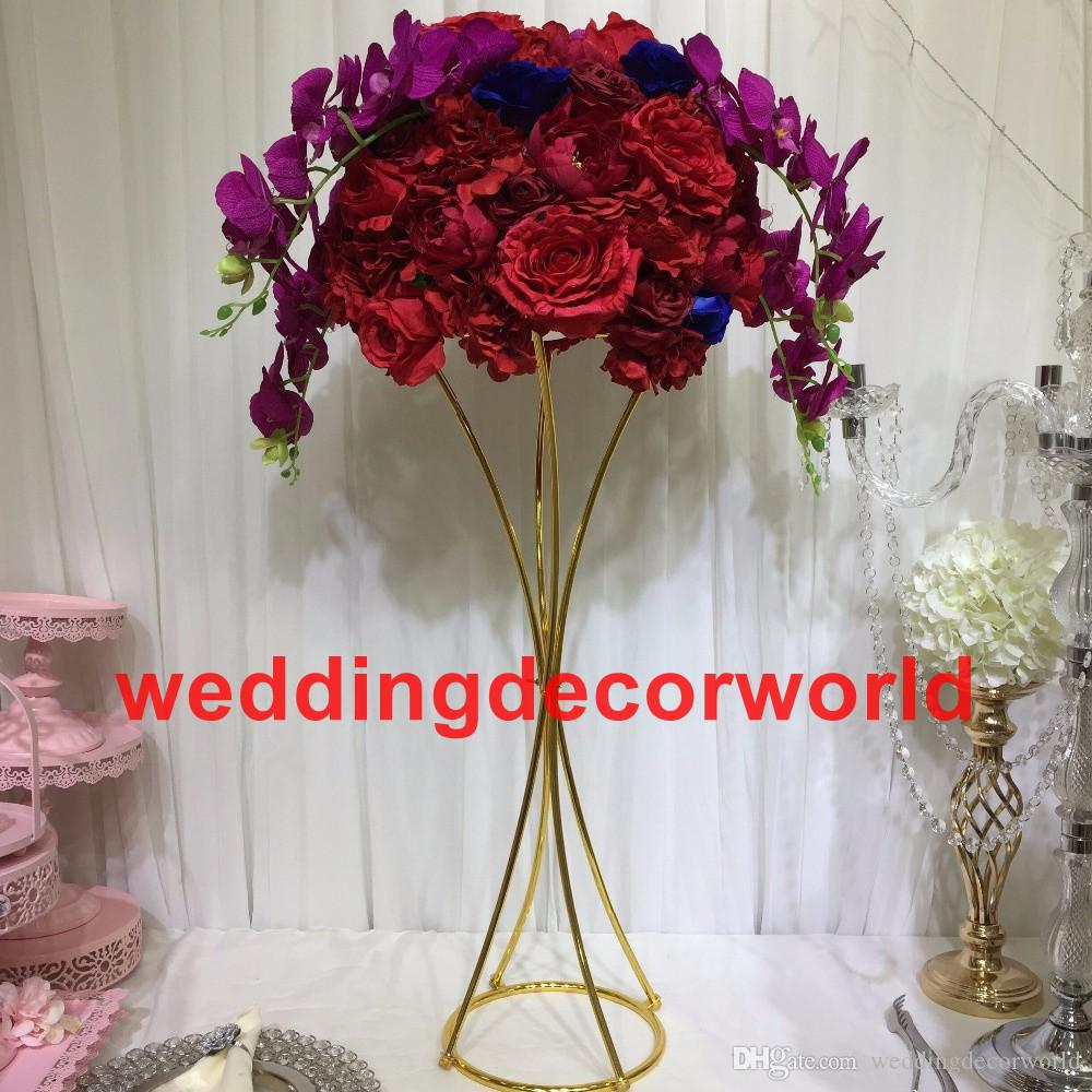 New 2019 Gold Candle Holders Flower Vase Candlestick Wedding Decoration Table Centerpieces Flower Rack Road Lead