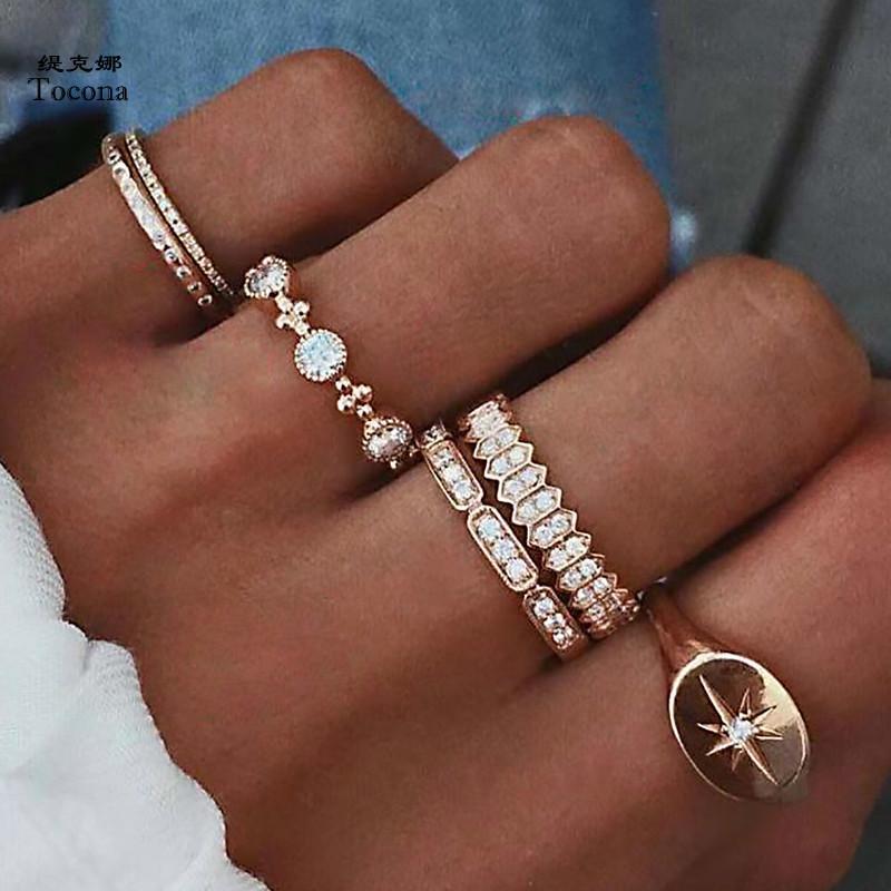 6шт / Set Bohemia Античное золото Корона Rhinestone костяшки пальцев кольца Набор для женщин Мода ювелирные изделия кольца 6834