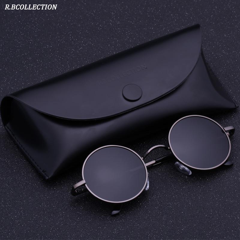 Black Metal Polarized Gothic Steampunk Sunglasses Mens Womens Moda Retro Pequeño Vintage Ronda Eyewear Shades C19041001