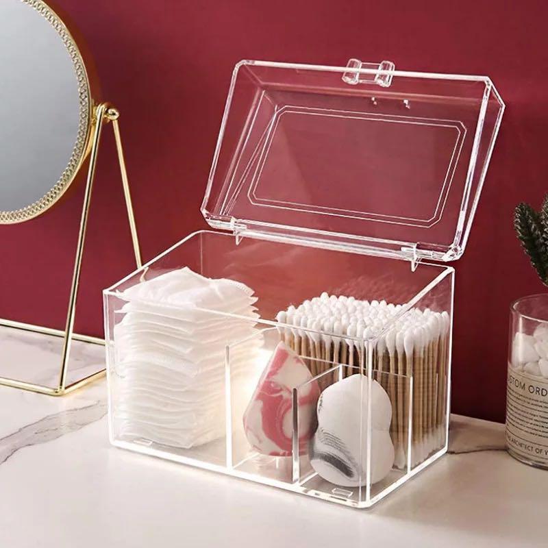 Staubdichtes Acryl Make-up-Organisator für Wattepads / Abstrich / Beauty Blender Aufbewahrungsbehälter mit Deckel Lippenstift / Nagellack-Organizer