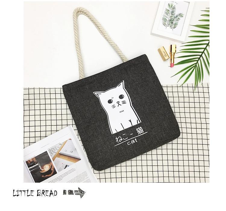 Cartoon Cat Printed Women Large Capacity Canvas Handbag Shoulder Bag jian