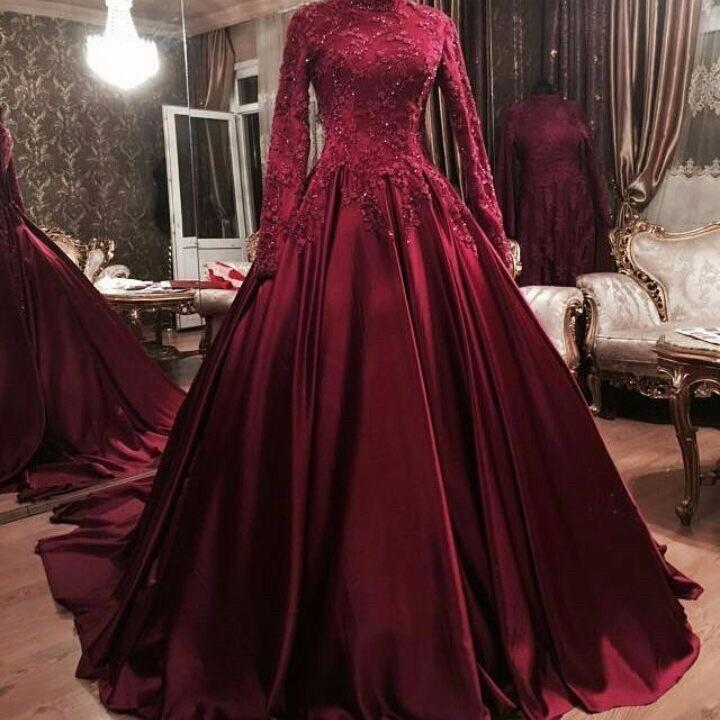 2020 Sexy Elegant Woman Burgundy Prom Dresses High Neck Ball Gown Plus Size Long Muslim Arabic Evening Gowns Formal Party Dress