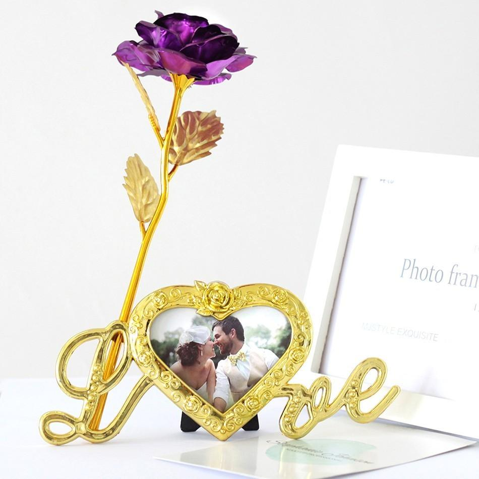 Foil Plated Rose Gold Rose Wedding Decoration Flower Valentine's Day Gift lover's artificial flower Red Pink Purple Blue