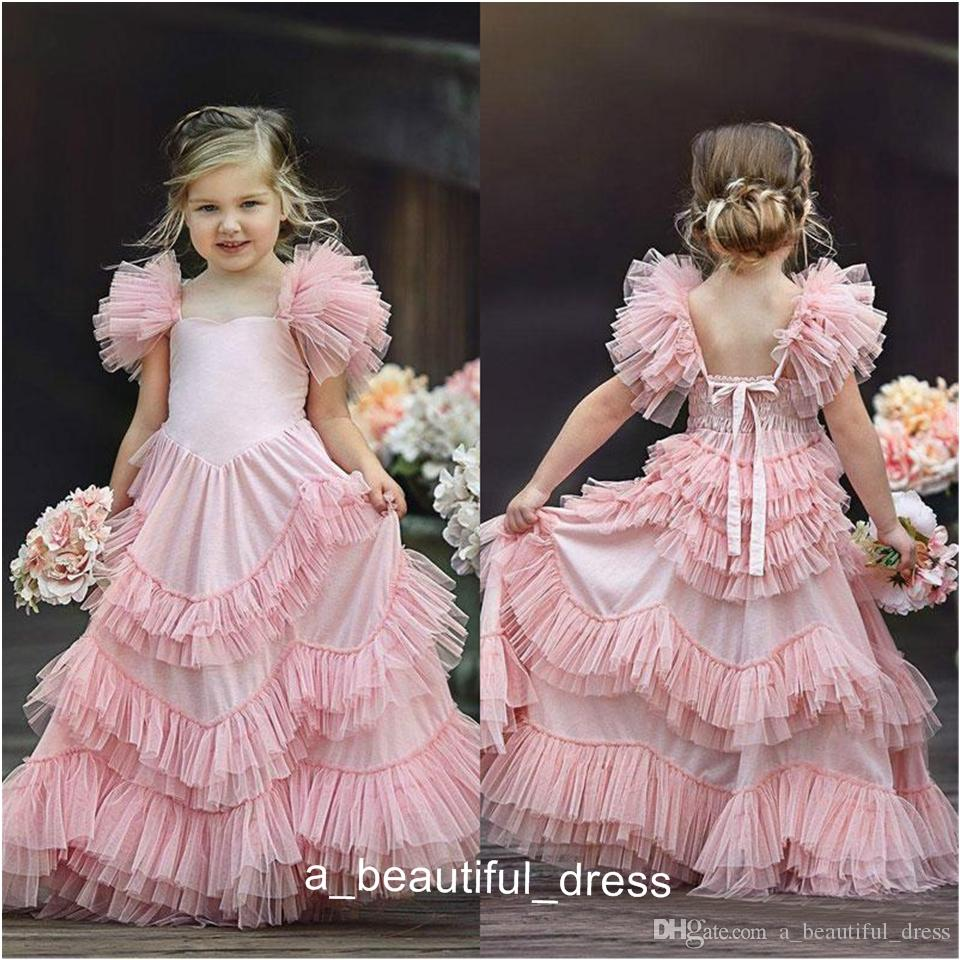 Flower Girls Dresses For Weddings Jewel Neck Pink Appliques Bow Tiered Sweep Train Butterfly Birthday Children Girl Pageant Gowns FG1312