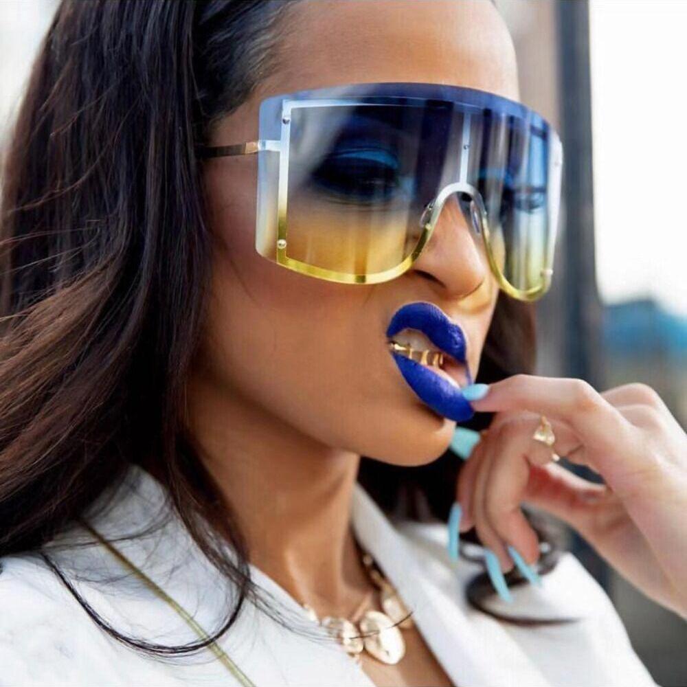 الأزياء المعتاد الأزرق الأصفر التدرج نظارات المرأة العلامة التجارية مصمم الأحمر بدون شفة معدنية الإناث نظارات الشمس ظلال
