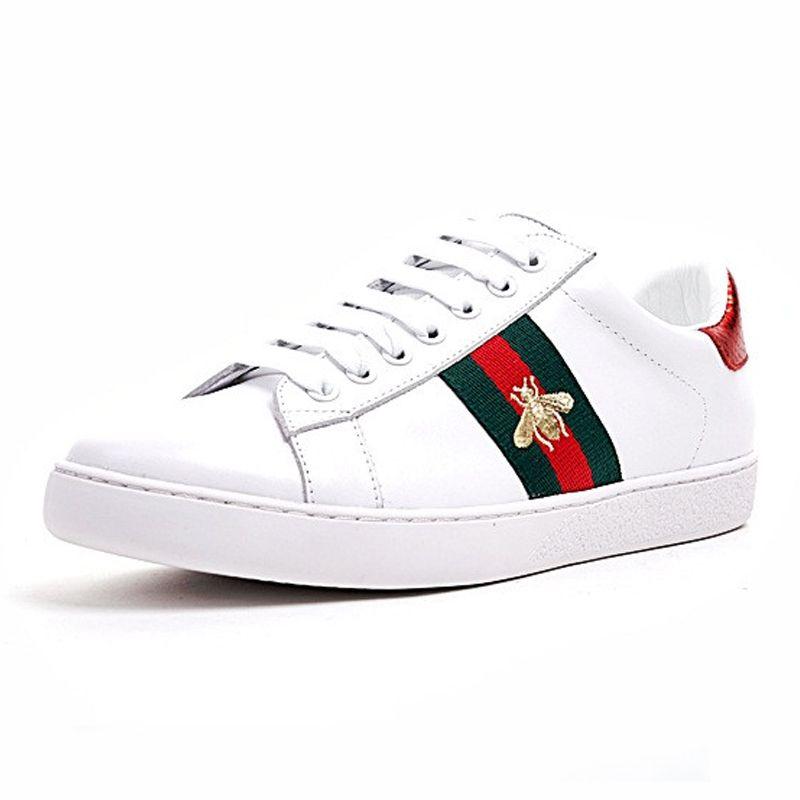 Compre GUCCI Ace Embroidered Barato Diseñador De Lujo Hombres Mujeres  Zapatillas De Deporte Zapatos Casuales Low Top Italia Marca Ace Bee Rayas  Zapato