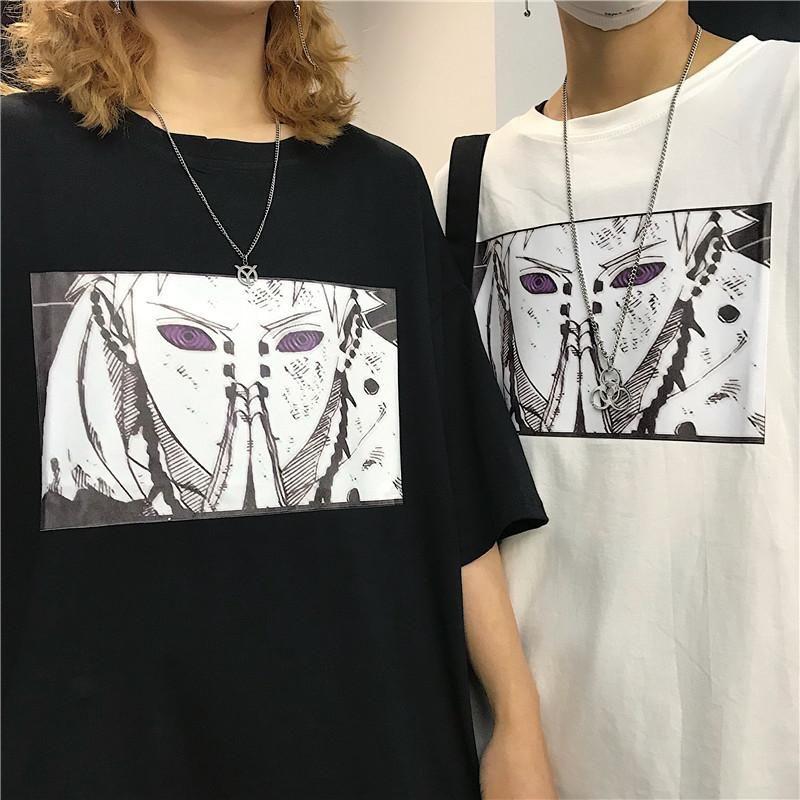 하라주쿠 남성 '나루토 사스케 고통 쿨 인쇄 남여 반팔 T 셔츠 스트리트 Jappanese 애니메이션 재미 인쇄 된 T 셔츠 S-3XL - 셔츠