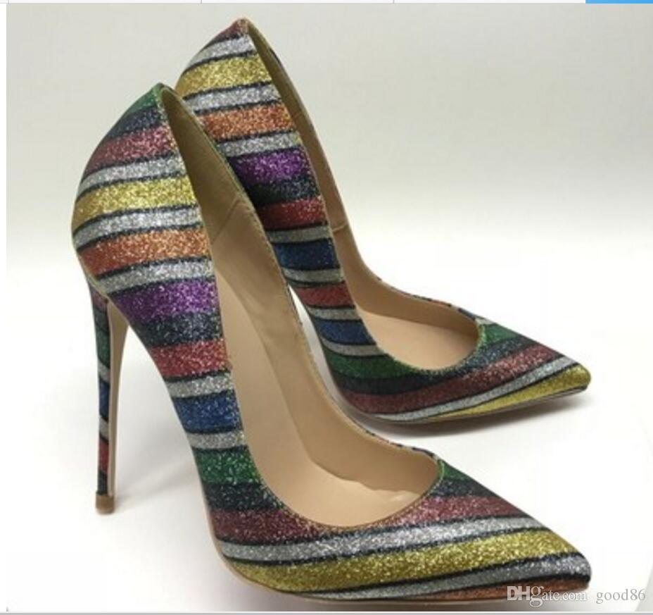Novo arco-íris Flash Pink Stripe Dica único sapato sapatos de salto alto das mulheres de lantejoulas de salto fino Raso-boca 8cm 10cm 12cm tamanho grande 44