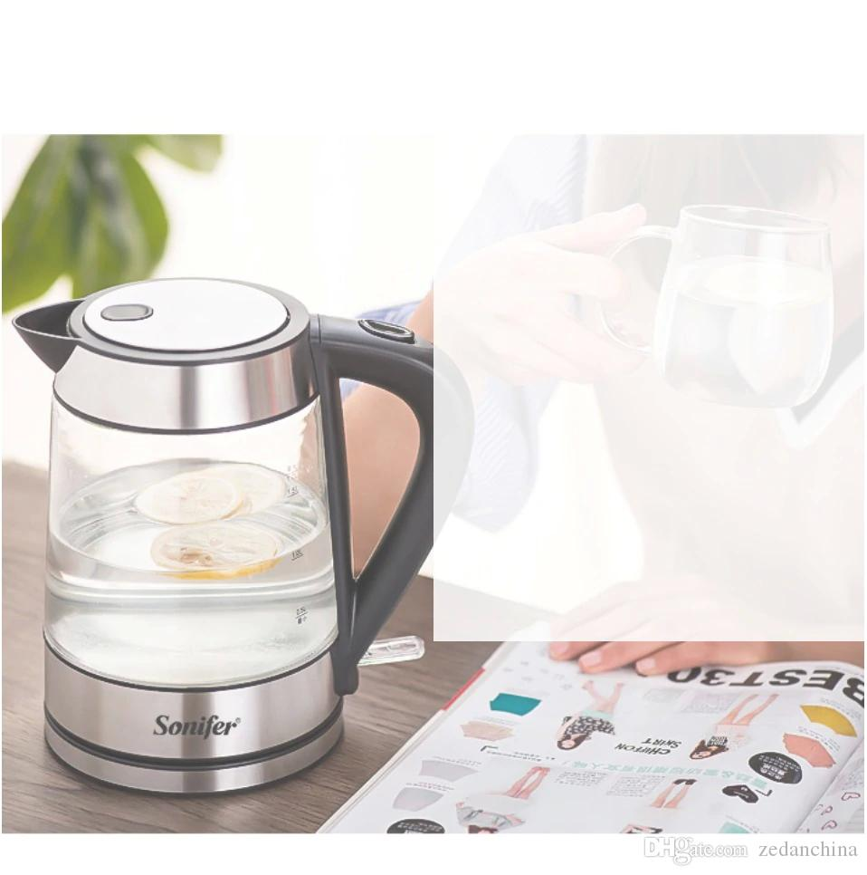 CKV-22 1.7L Colorful Electric Kettle Glass Transparent 2200W Household Quick Heating Electric Boiling Pot Sonifer