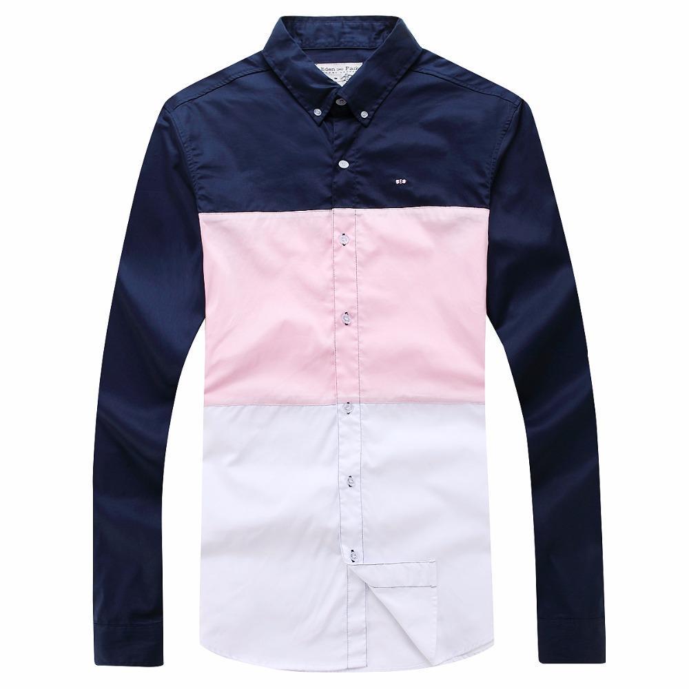 Patchwork classico abito camicie da uomo Casual maniche lunghe Mens i vestiti di colori caramella dimensioni Slim Eden Park affari Uomo Camicie sociali M-3XL
