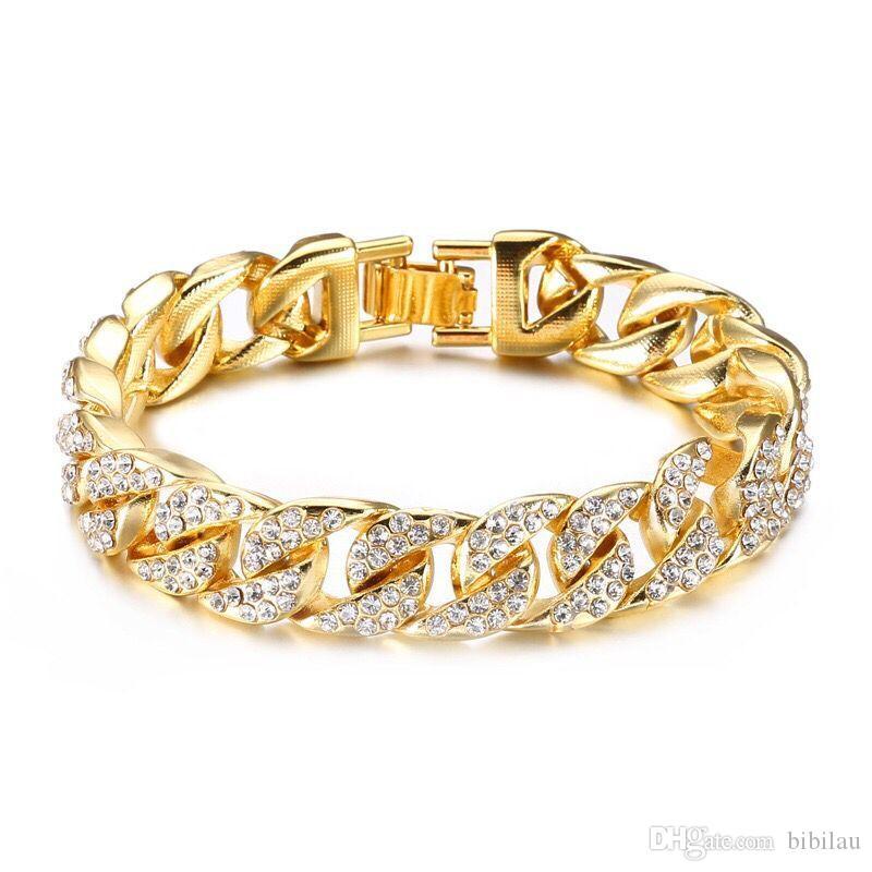 (TB-0014) (22 cm x 14 mm) 316L titanium steel Gold Color Heavey Full Crystals Bracelets Jewelry For Men No Fade
