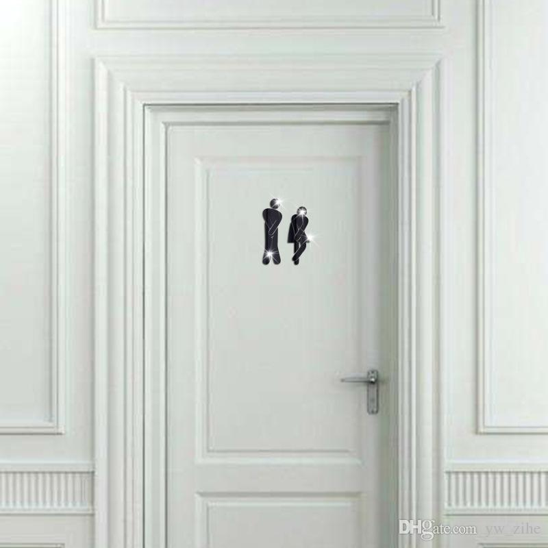 3D Acrylic Mirror WC Toilets Bathroom Wall Stickers Decals Home Hotel Sign Decor
