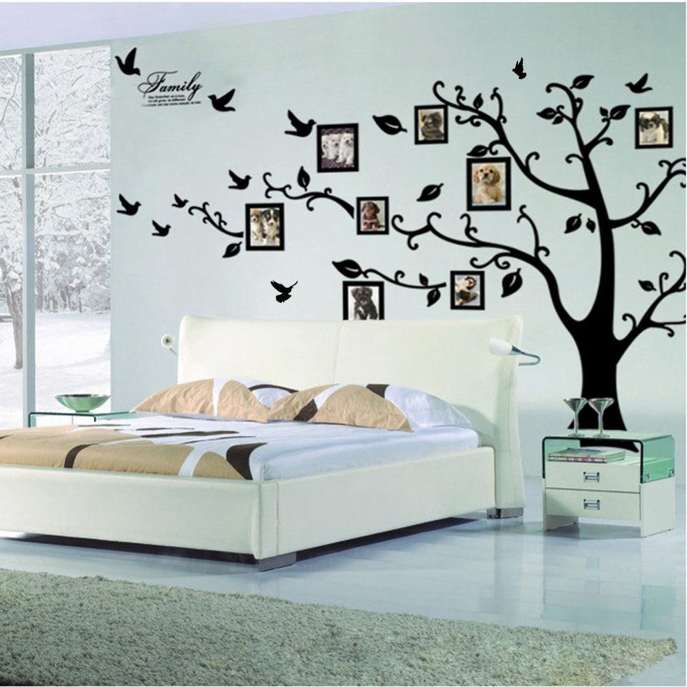 كبير الأسود 3D DIY صور الإطار الأشجار PVC شارات الجدار / لاصق الأسرة ملصقات الحائط جدارية الفن ديكور المنزل غرفة المعيشة ديكورات Y200102