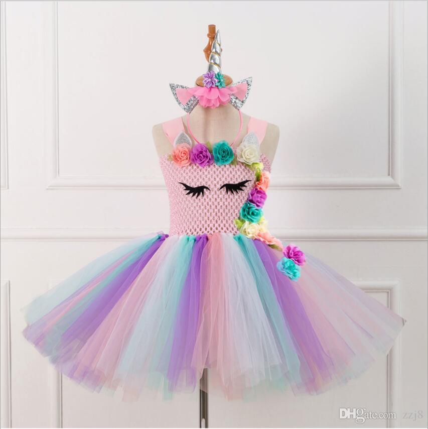 Prinzessin Tutu Bühne Kleid für Kinder Bandage Band Mesh-Crochet Christmas Party Kleider Kind-Mädchen-Kostüme mit Stirnband